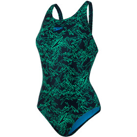speedo Boom Allover Muscleback Swimsuit Women Black/Fakegreen/Winsdorblue
